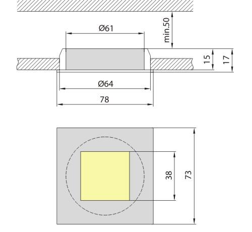 Светильник врезной M-60A золотой, Brilum