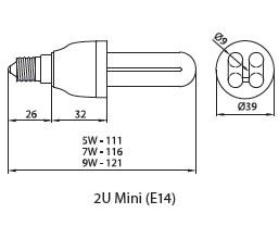 Лампа компактная люминесцентная 2U mini 9W E14, Brilum