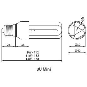 Лампа компактная люминесцентная 3U mini 13W E27, Brilum