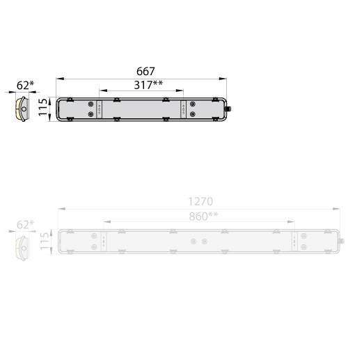 Светильник герметик линейный HERMETIC flat 60 IP65, ELGO