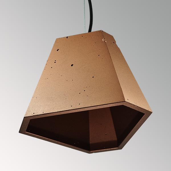 Светильник бетонный подвесной ТРЕГО металлик медь, AGARA
