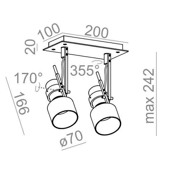 Светильник потолочный 2000 P20x2 reflektor, AQForm