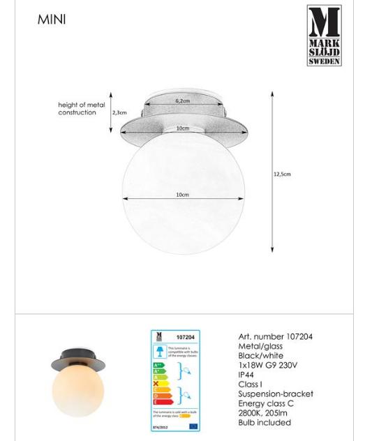 Светильник MINI 1L черный 107204 IP44, Markslojd