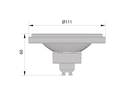Лампа светодиодная AR111 HALO, 12W, 24°, 230V