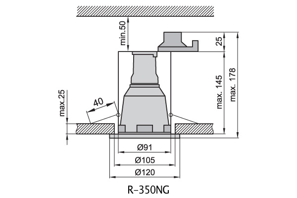 Светильник врезной R-350ng серебро IP44 Brilum