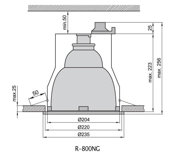 Светильник врезной R-800ng белый IP44 Brilum